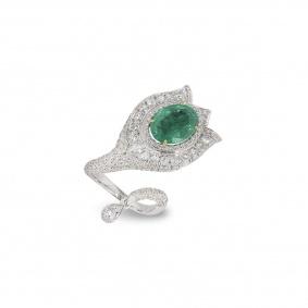 White Gold Diamond and Emerald Wrap Around Ring
